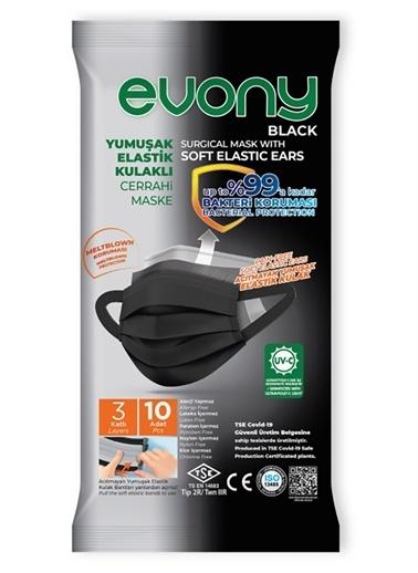 Evony Evony Black Yumuşak Elastik Kulaklı Maske 10'lu Renkli